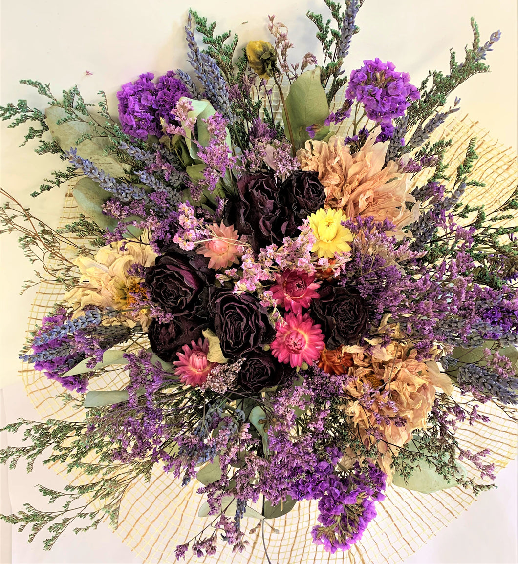 Large Dried Flower Posy - Purple, pink & Mauve