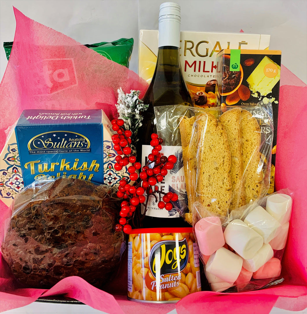 Wine, Christmas cake, chips, nuts, Turkish delight, biscotti, crackers, chocolates and Marsh mellows, Gift basket, Christmas
