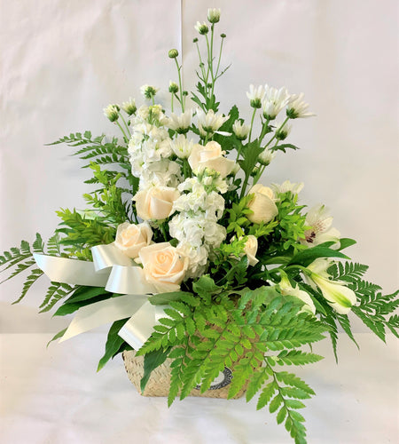 Sympathy flowers with native ferns and stock roses, whanua gift or sympathy gift