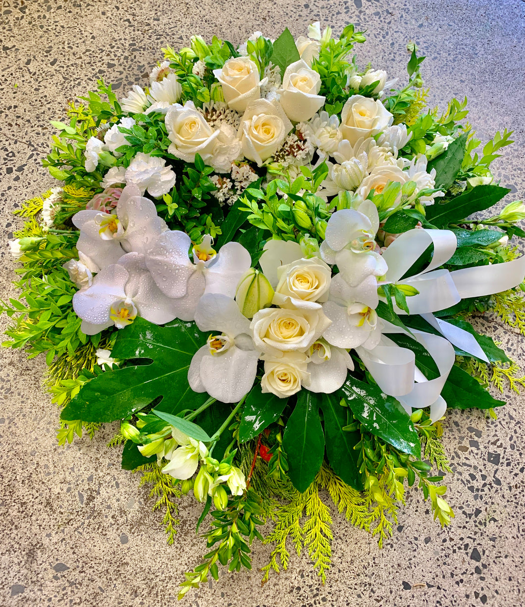 White Fresh Floral Wreath with Roses