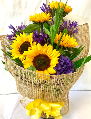 Sunflowers & Purple in Modern Wrap