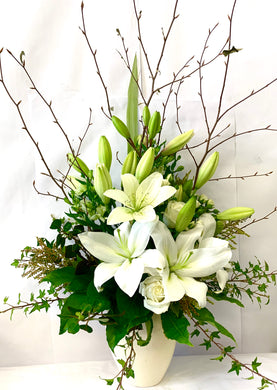 White Floral Arrangement in Vase