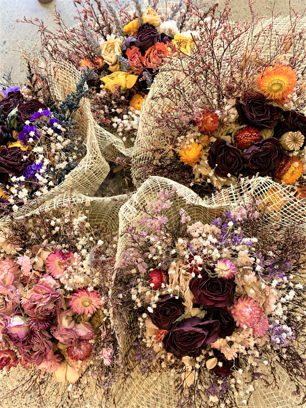 Small hand tied bunch of dried flowers