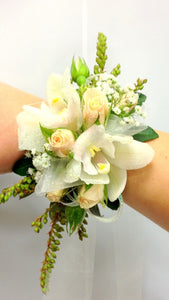 Champagne & peach orchids & roses, School Ball, Wrist Corsage,