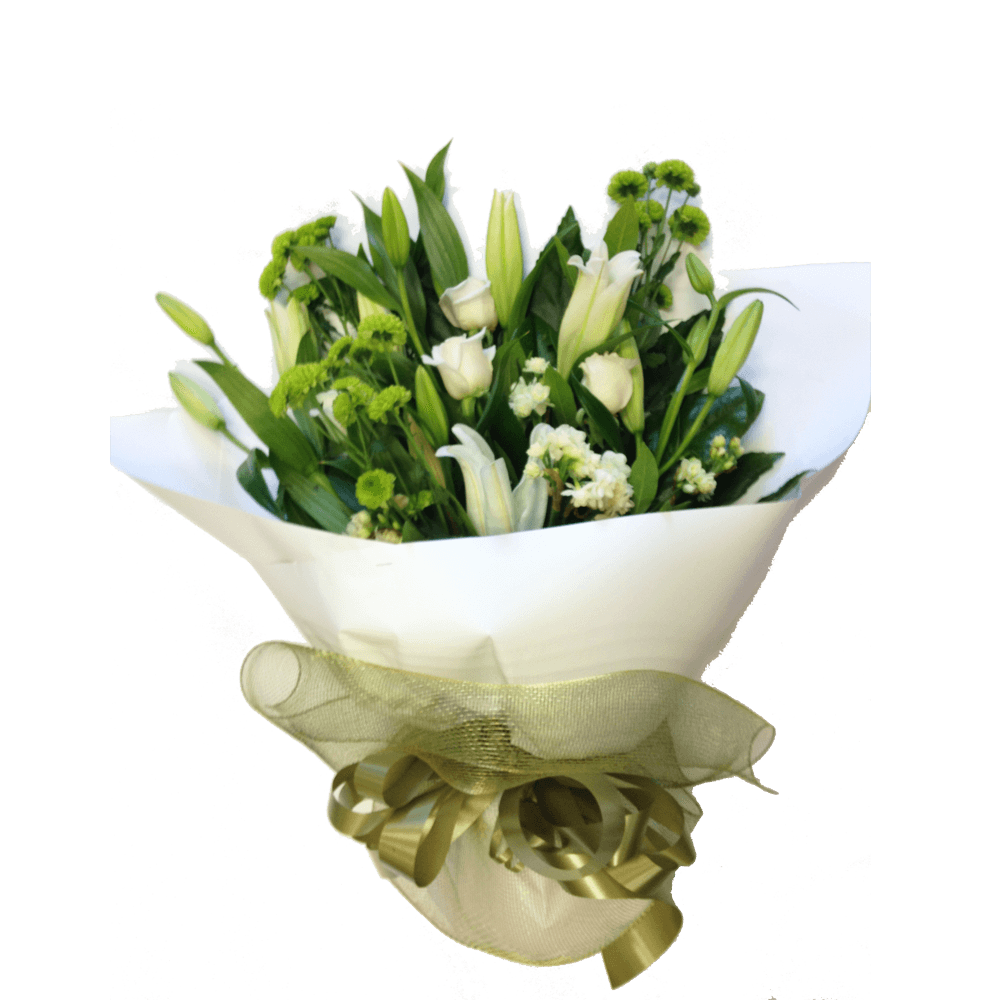 White Hand tied Bouquet, Anniversary, Birthday, Bouquets, Sympathy flowers,
