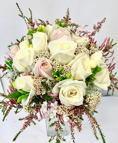 Wedding bouquet, Pink and white roses in a Hand-tied bouquet for a spring Wedding., Wedding, bouquet, bride
