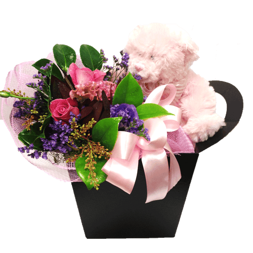 Boxed pink or blue teddy with chocolates flowers