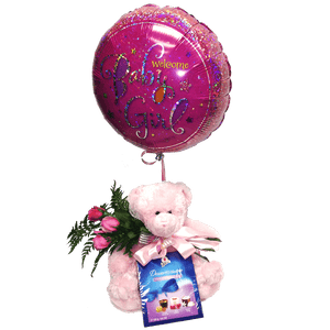 Teddy with balloon with chocolates & roses, baby, hospital, congratulations,