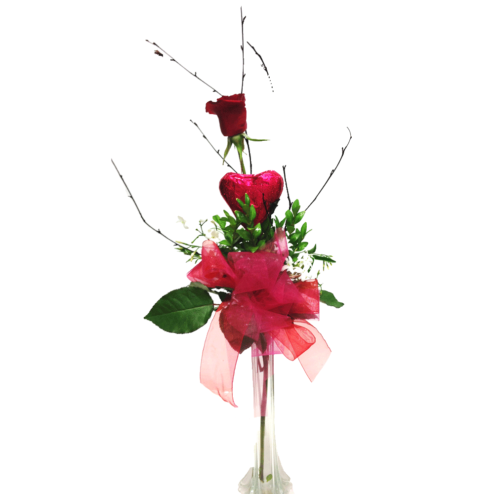 Single rose with chocolate heart in vase