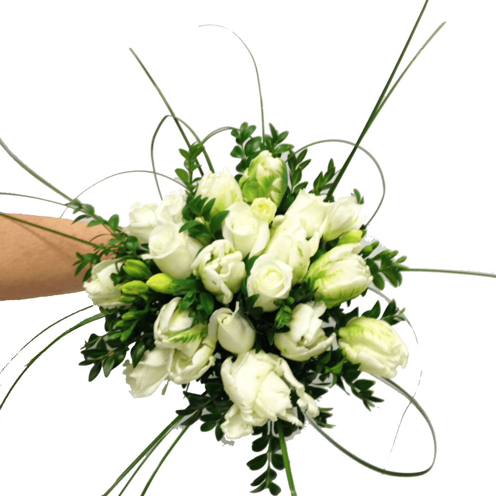 Hand-tied roses with tulips with freesias,  Wedding, Bride, Bridesmaid, Wedding celebration, Wedding flowers