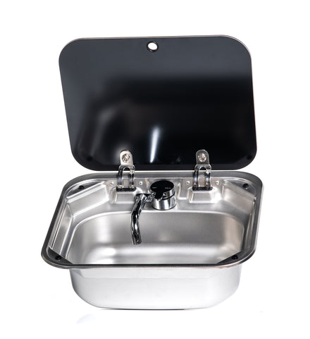 Square Stainless Steel Sink with Glass Lid