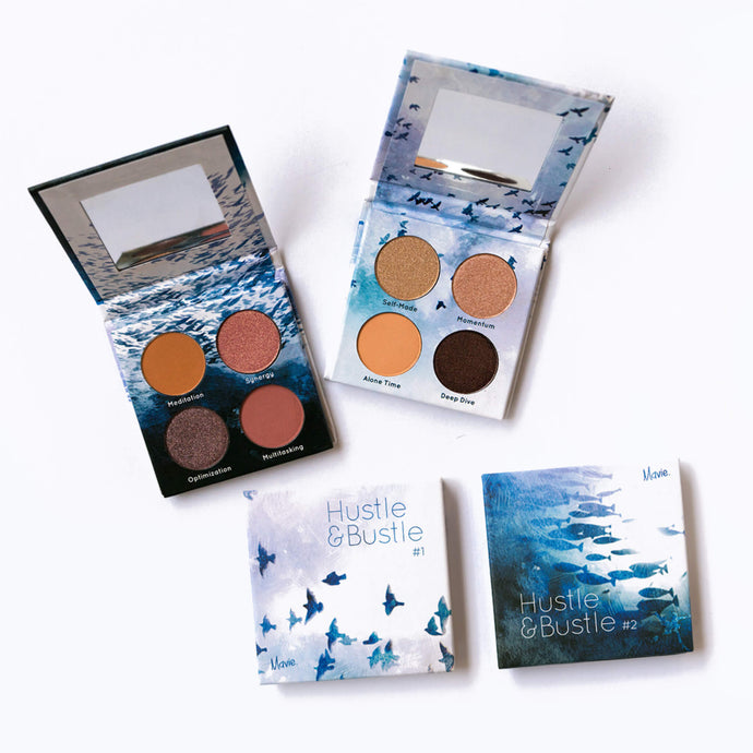 Mavie. Cosmetics, Hustle & Bustle Eyeshadow Palette Collection Bundle, Shimmer & Matte Finishes.