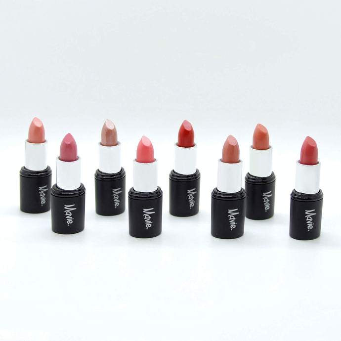 Mavie. Cosmetics, Power Charms Lipstick, Collection Bundle, 8 Shades, Glossy & Satin & Matte Finishes.
