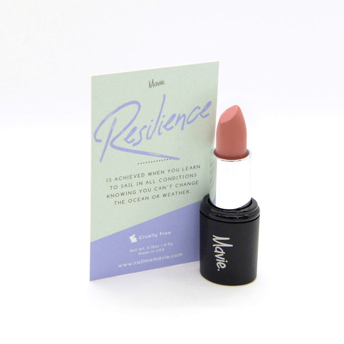 Mavie. Cosmetics, Power Charms Lipstick, Resilience, Nudes & Corals Shade, Satin Finish.