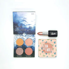 Load image into Gallery viewer, Mavie. Cosmetics, The Daily Trio Bundle, Hustle & Bustle Eyeshadow Quad, The Motto Blush, Power Charms Lipstick.