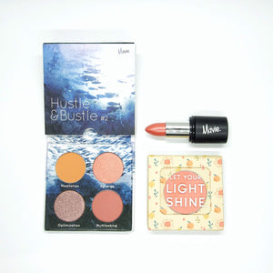 Mavie. Cosmetics, The Daily Trio Bundle, Hustle & Bustle Eyeshadow Quad, The Motto Blush, Power Charms Lipstick.