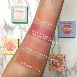 Mavie. Cosmetics, The Motto Blush Collection Bundle, 4 Shades, Shimmer & Matte Finishes.