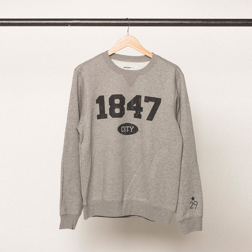 vintage heather grey sweatshirt with black bold screenprinted lettering featuring the established year 1847 for the university of iowa in iowa city