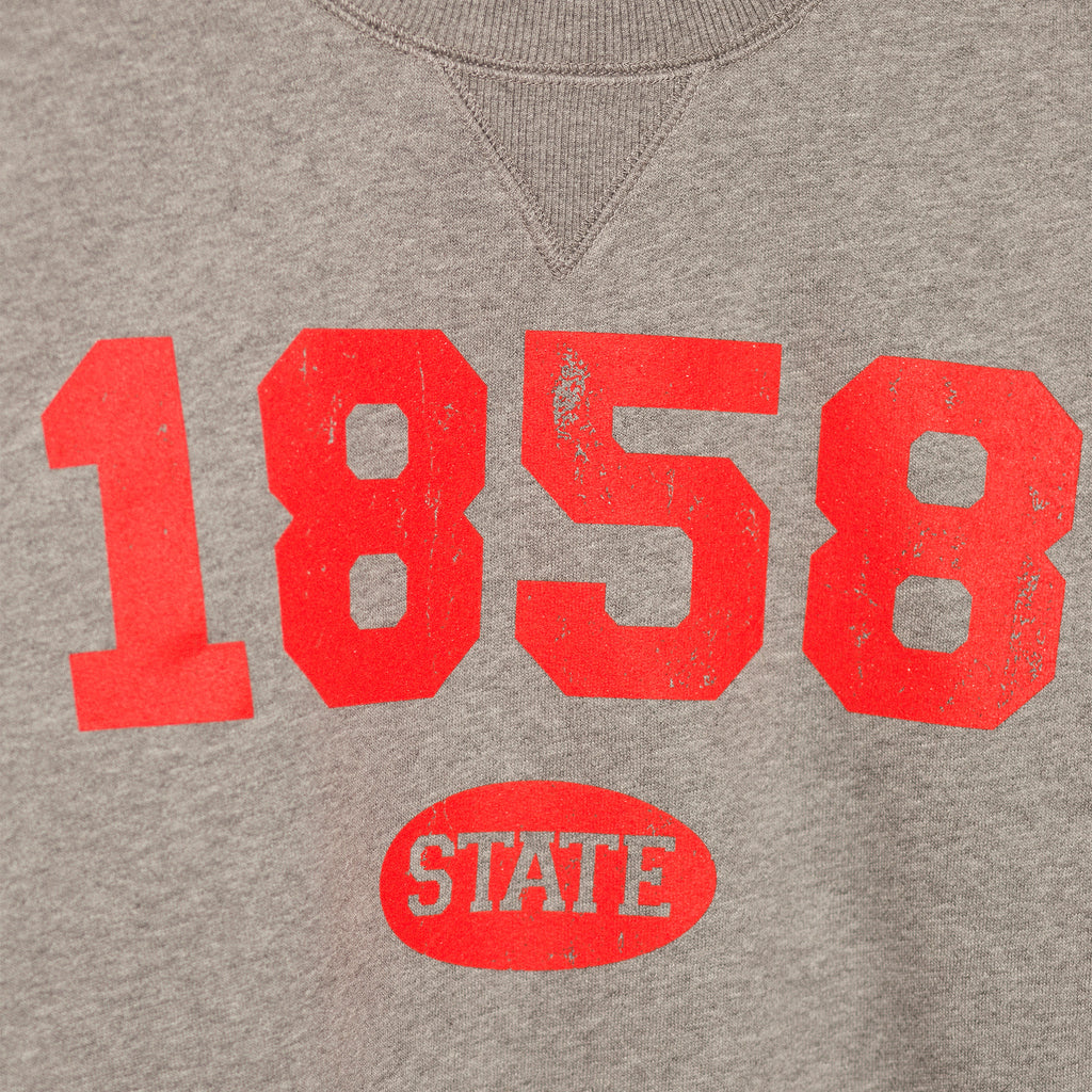 zoomed in image showcasing the screenprinted 1858 established year in bright red bold lettering with state in small bubble underneath