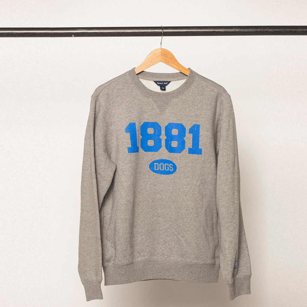 vintage heather grey sweatshirt with blue bold screen printed lettering featuring the established year 1881 for drake university in des moines iowa