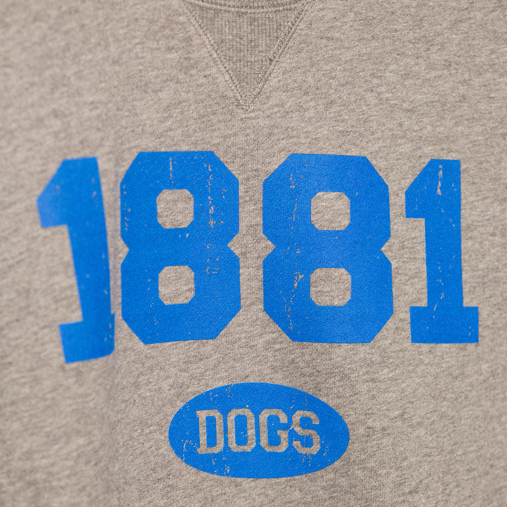 zoomed in image showcasing the screen printed 1881 established year in blue bold lettering with dogs in small bubble underneath