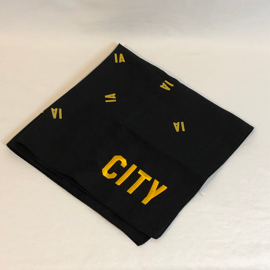 black bandana small IA printed randomly throughout background and city embroidered in corner in gold