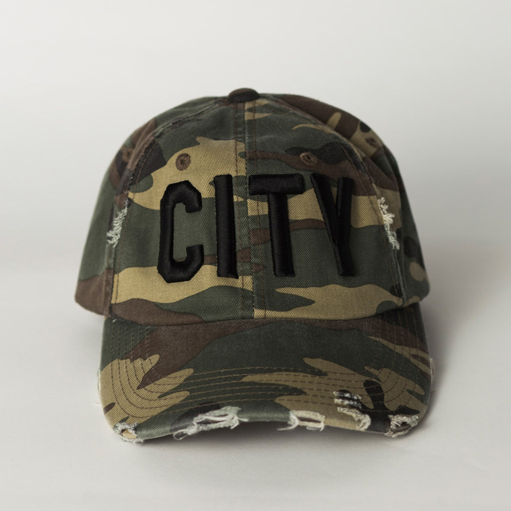 front view CITY Distressed Baseball Hat camo