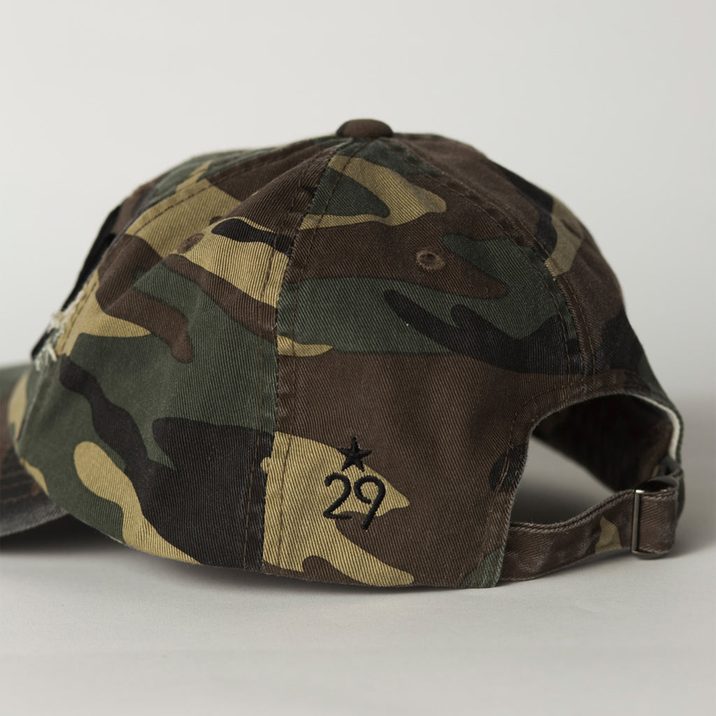 side view CITY Distressed Baseball Hat camo