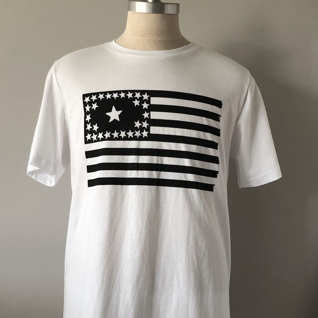 basic white tee on a mannequin featuring the 29 star flag from 1846 on the front of the t-shirt