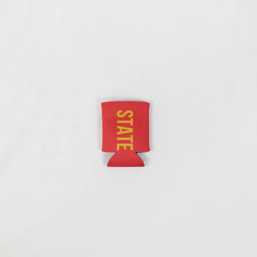 all red collapsable foam koozie with state printed in gold down the front