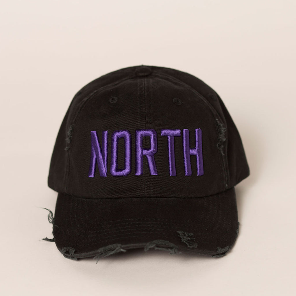 front view black distressed baseball hats purple north embroidery large font