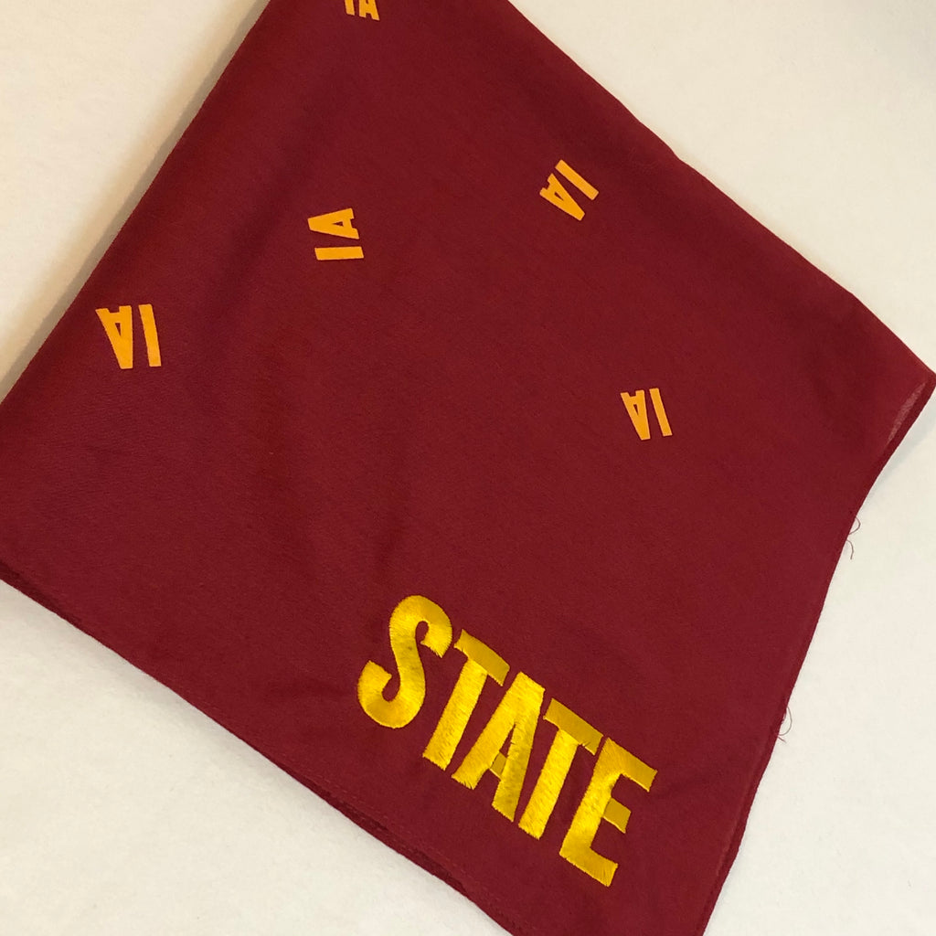 red bandana small IA printed randomly throughout background and state embroidered in corner in gold