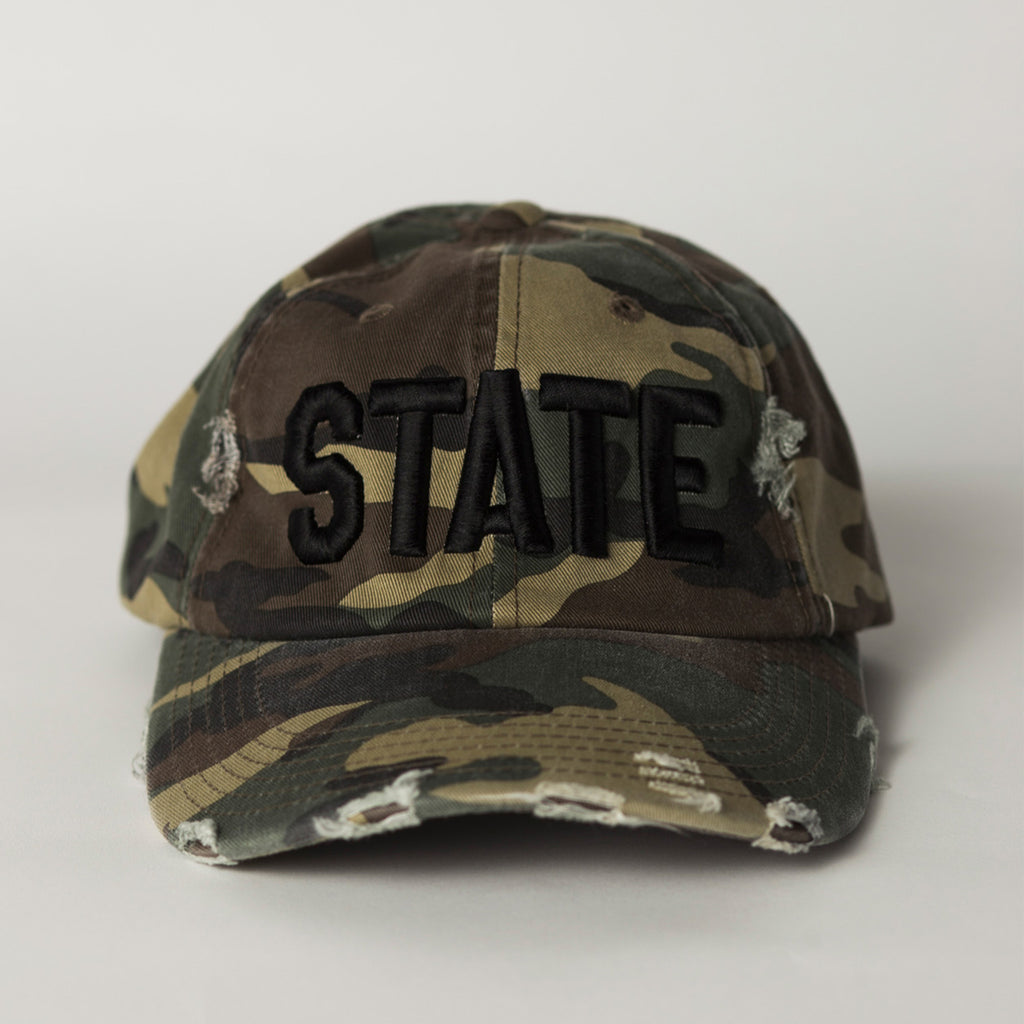 front view STATE Distressed Baseball Hat camo