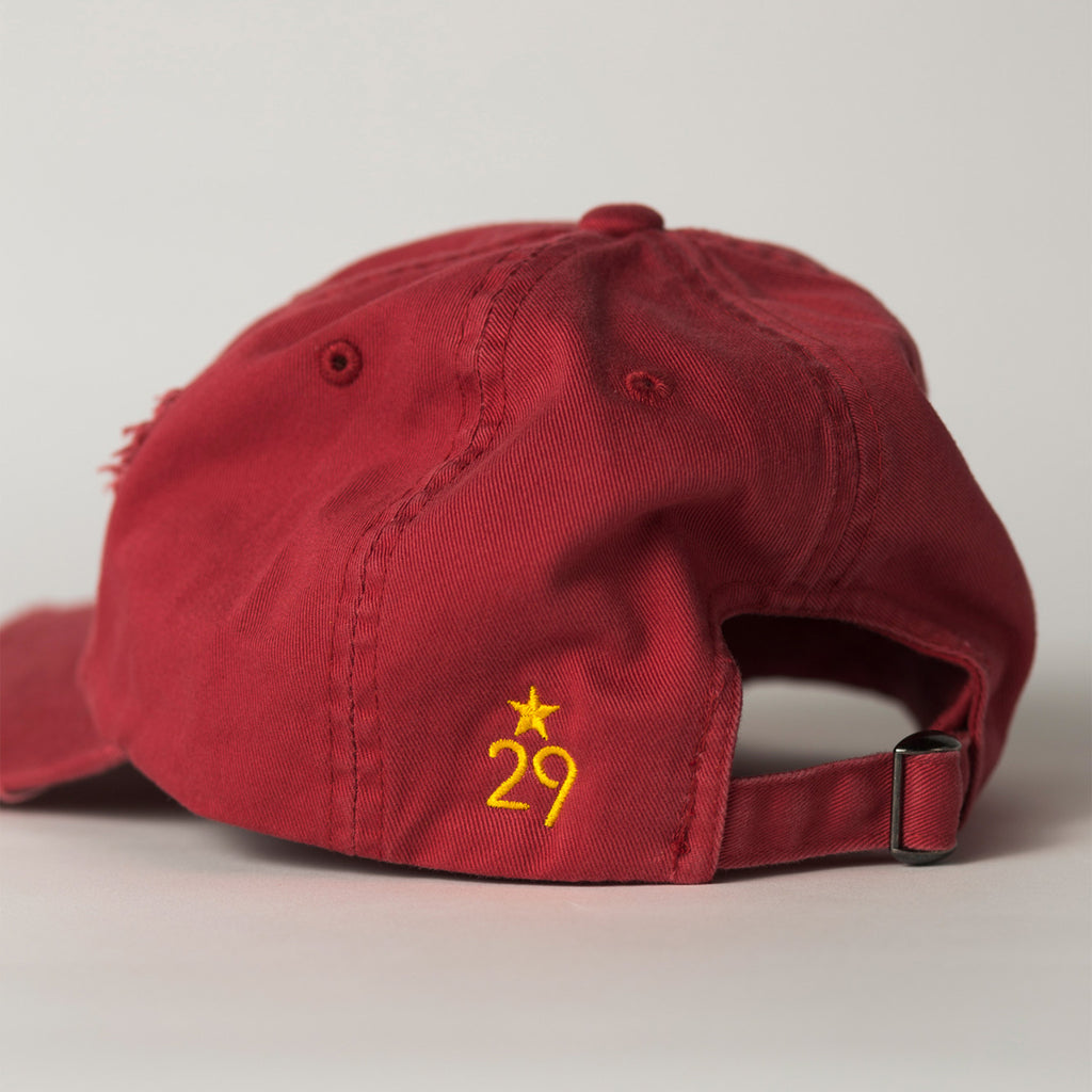 side view STATE Distressed Baseball Hat red
