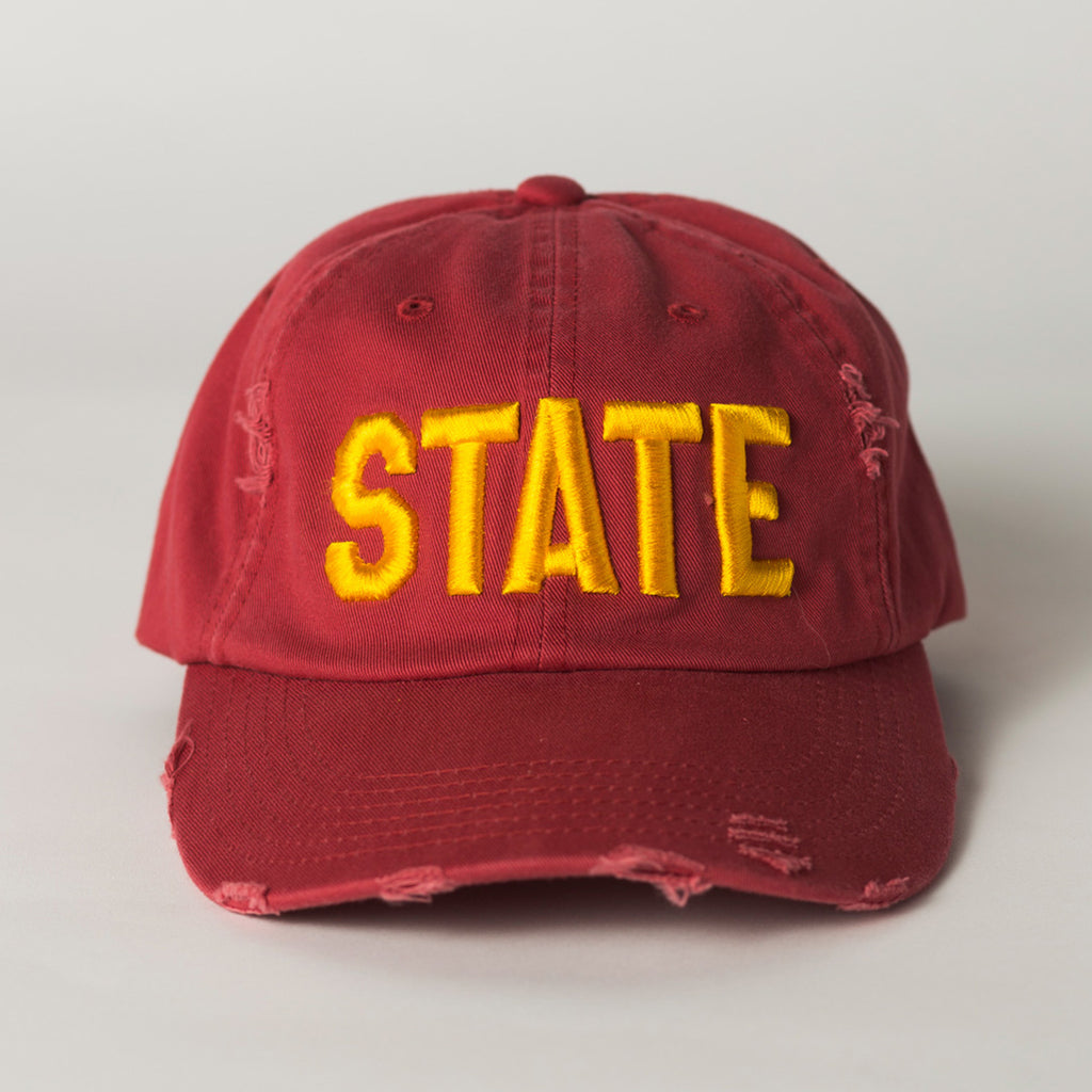 front view STATE Distressed Baseball Hat red