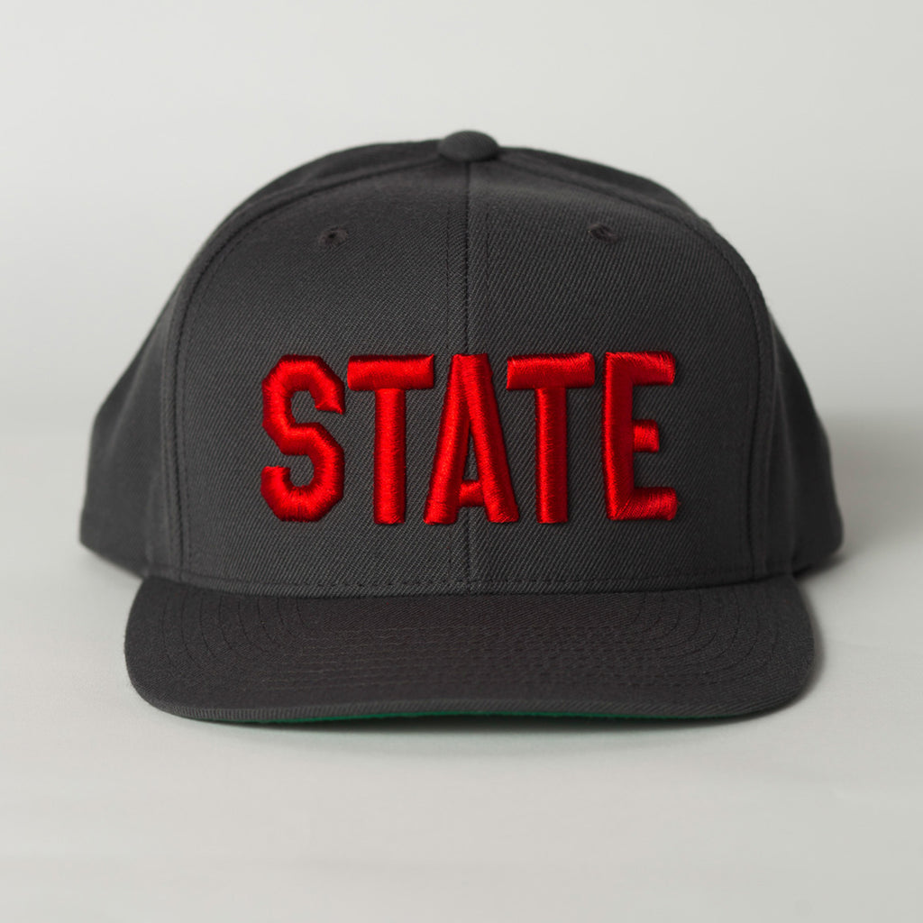 front view STATE Flat Bill Snapback Hat gray