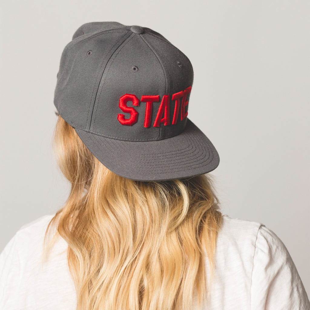 backwards on model STATE Flat Bill Snapback Hat gray