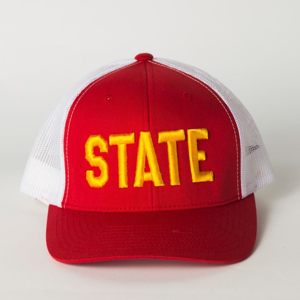 Front view of state hat red and white gold letters