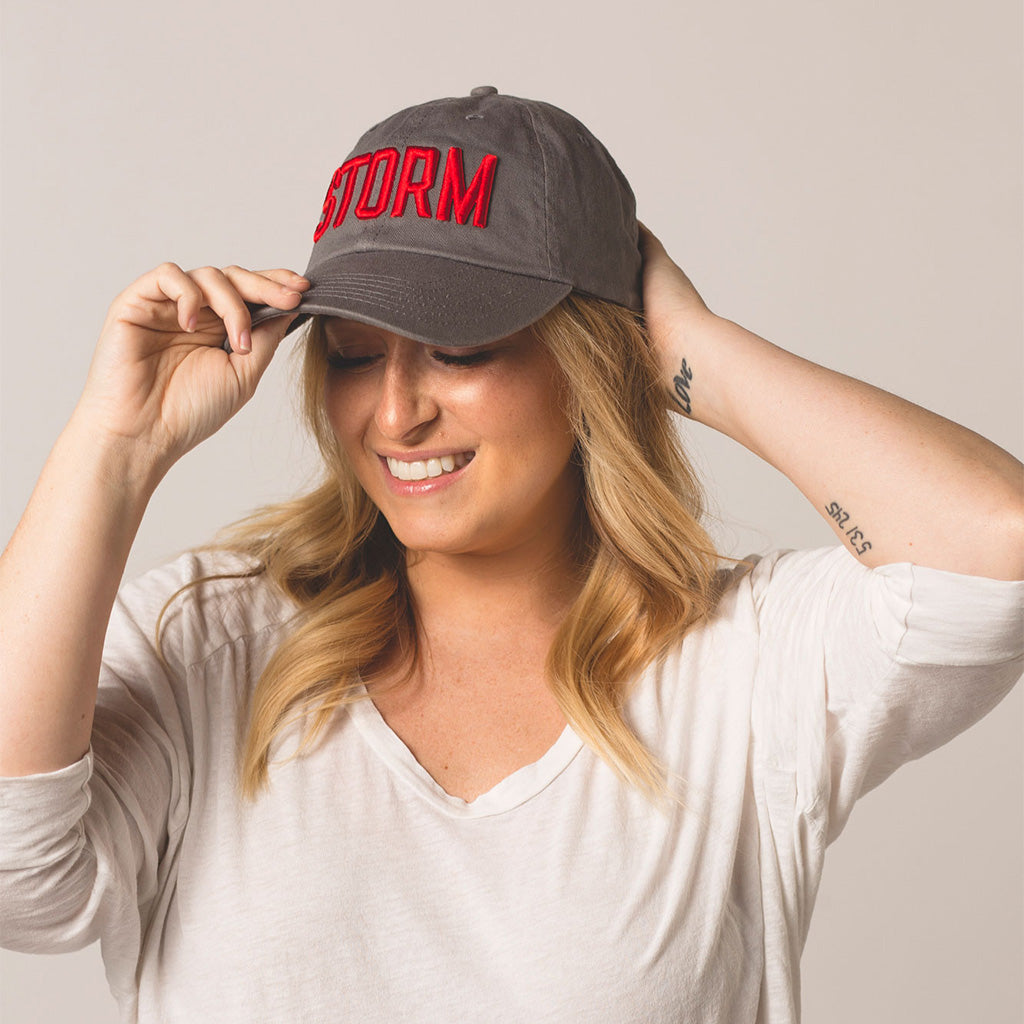 front view on model STORM gray baseball hat