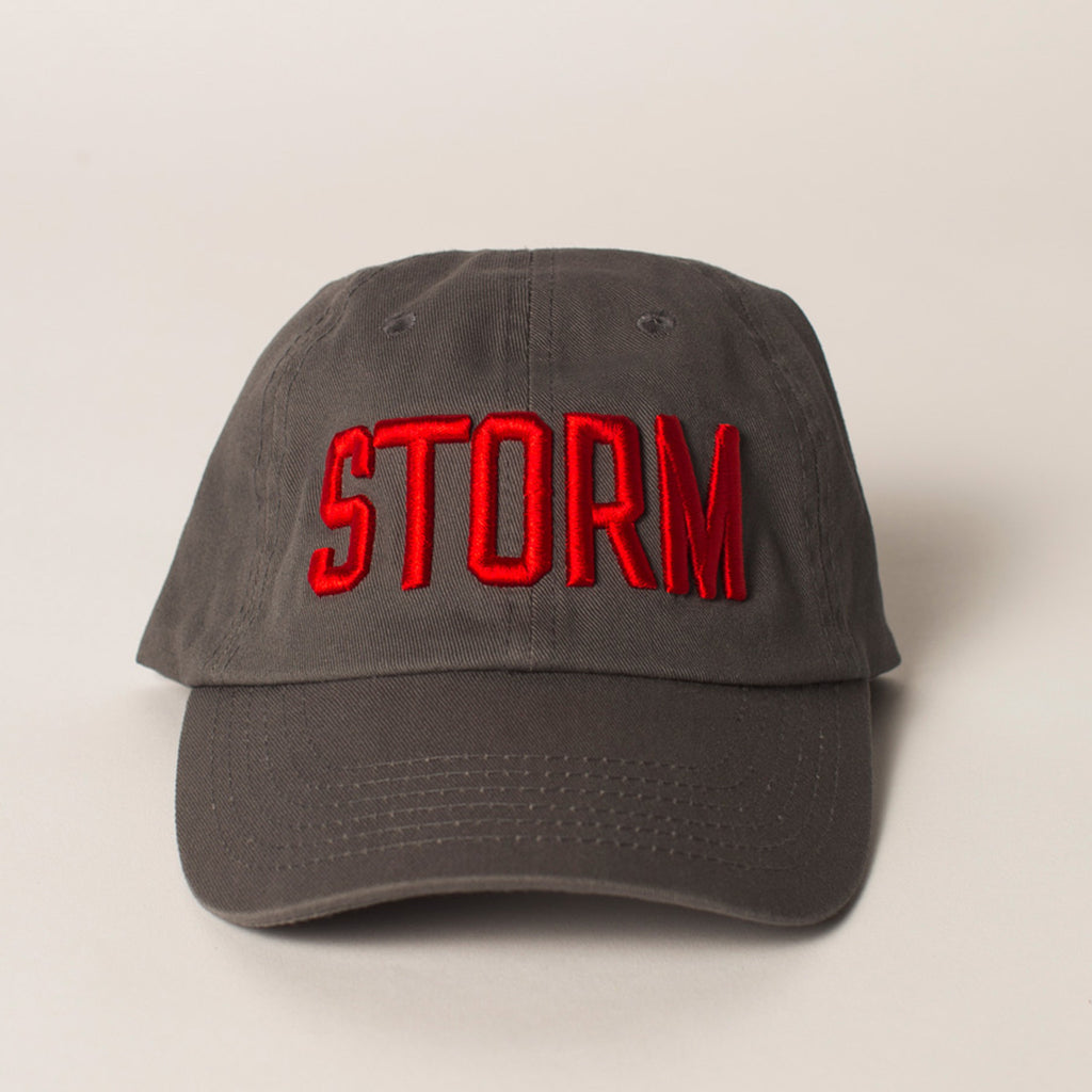 front view STORM baseball hat gray