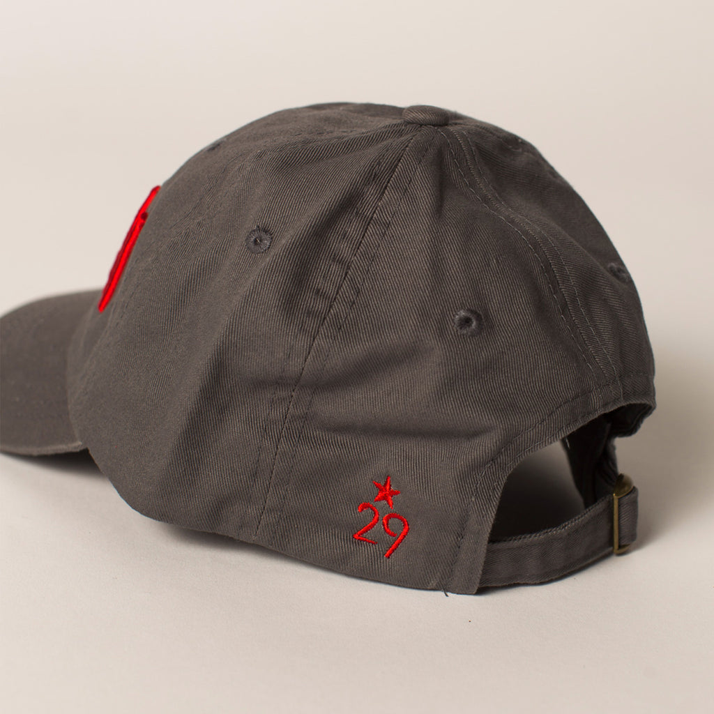 side view STORM baseball hat gray