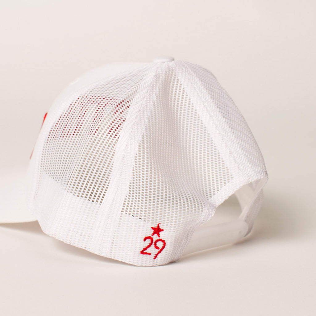 front view STORM Trucker Hat white