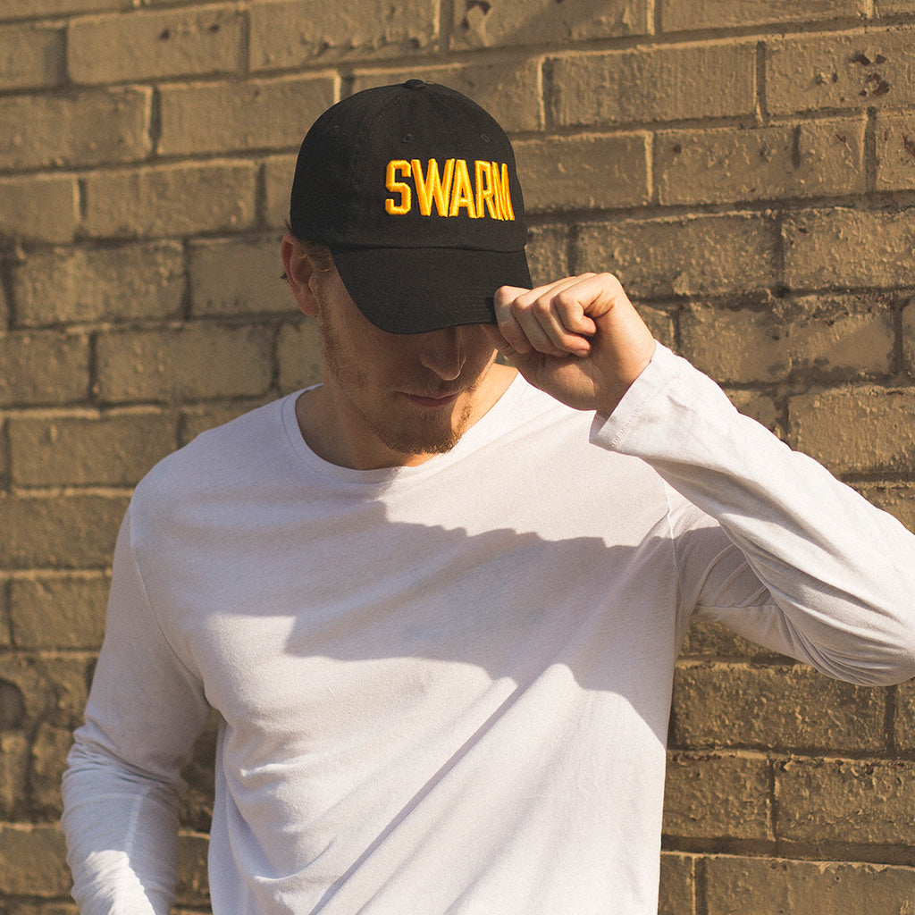 alt front view on model SWARM black baseball hat