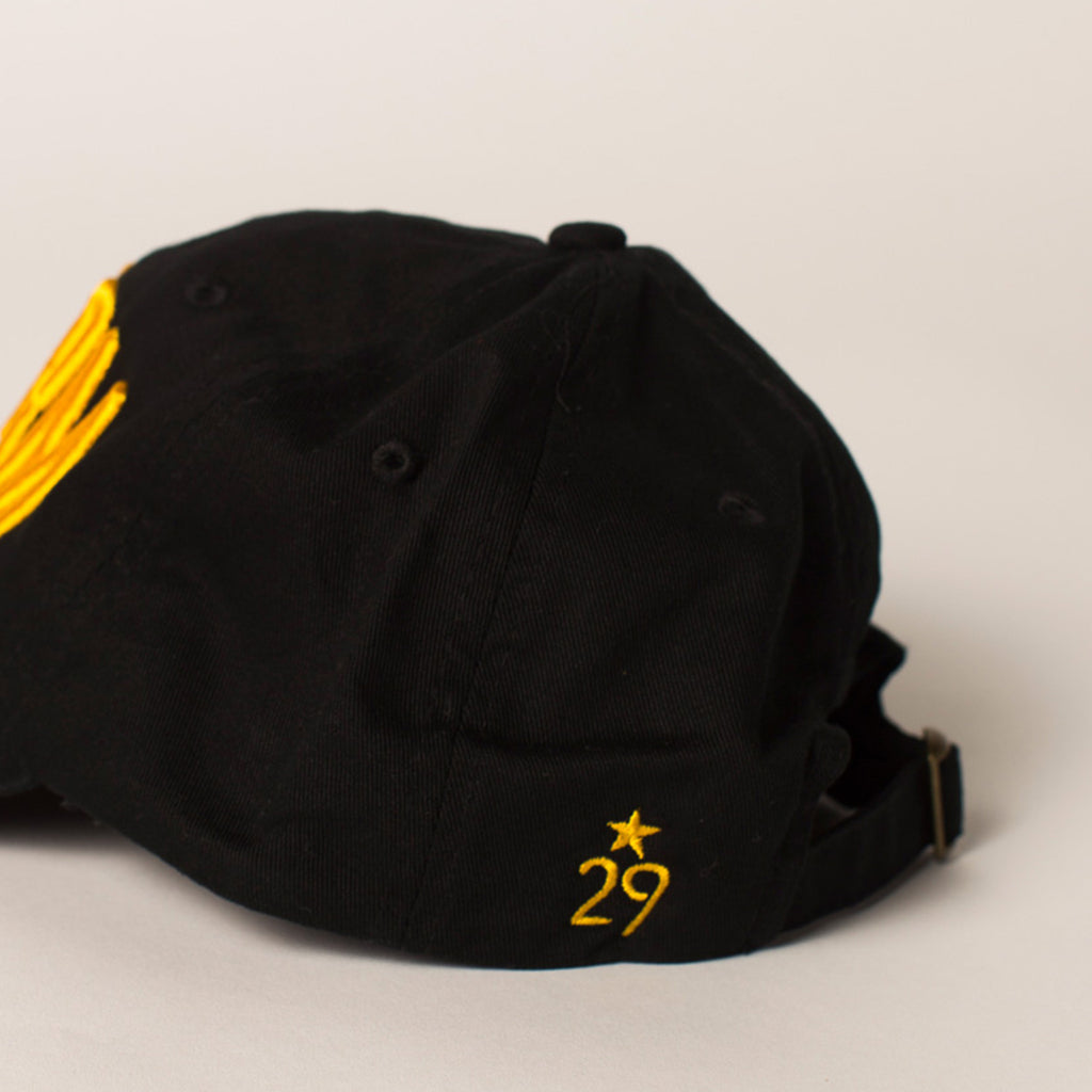 side view swarm baseball hat black
