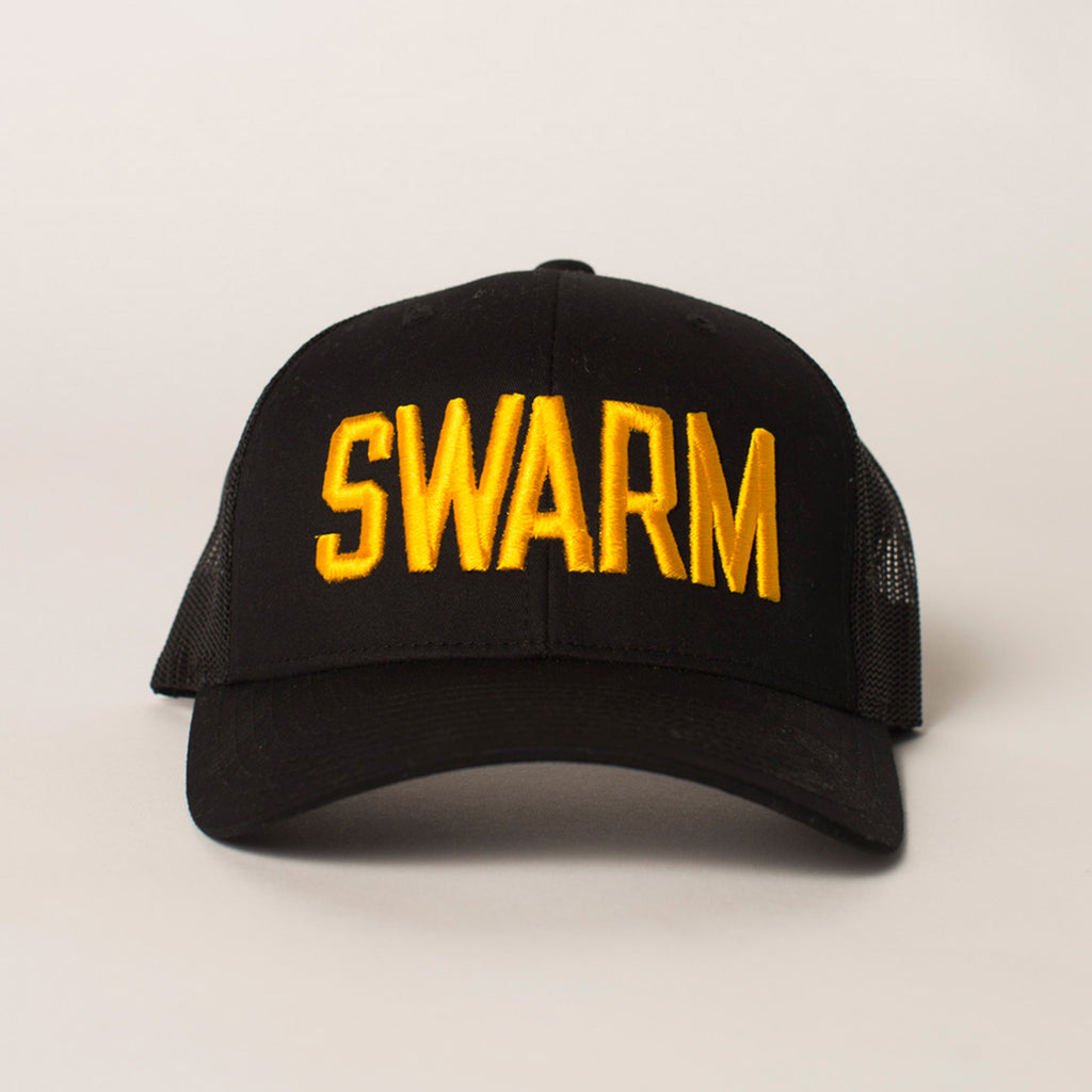 front view SWARM Trucker Hat black