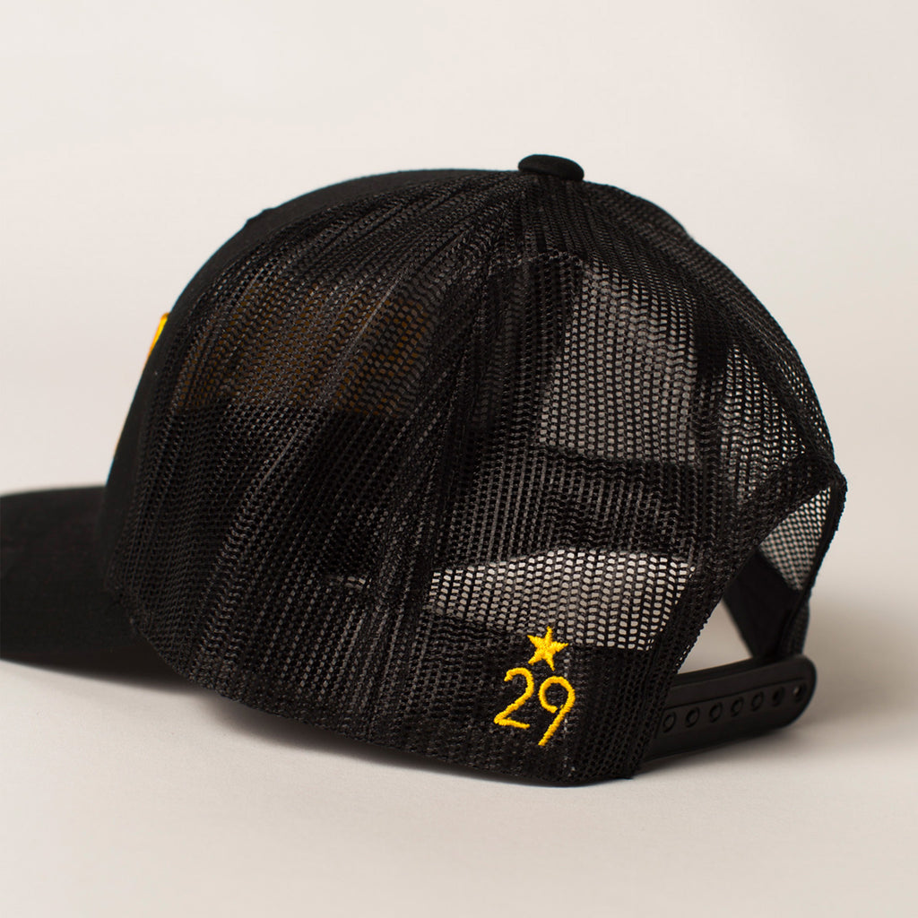 side view SWARM Trucker Hat black