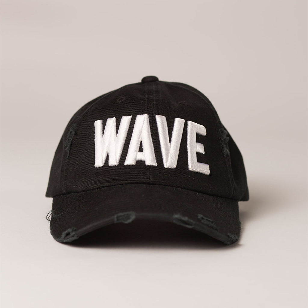 front view WAVE black distressed baseball hat