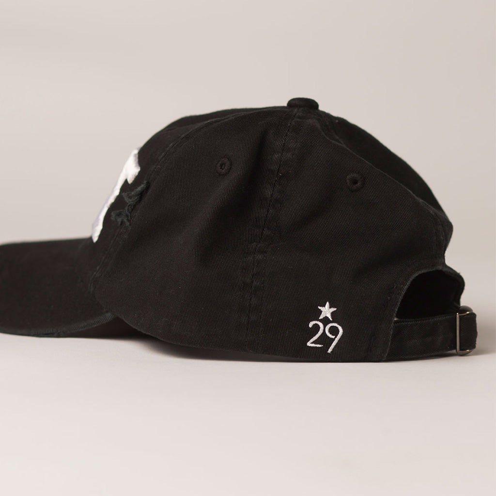 side view WAVE black distressed baseball hat