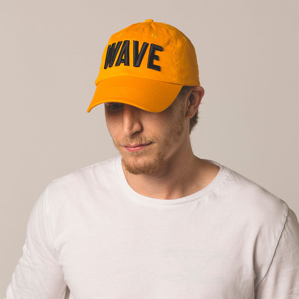 alt front view on model WAVE gold hat
