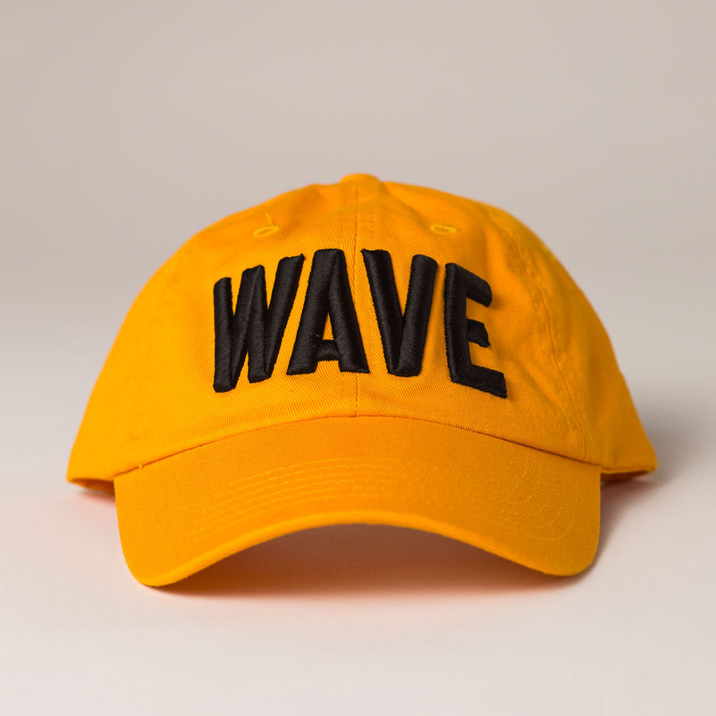 front view WAVE gold baseball hat
